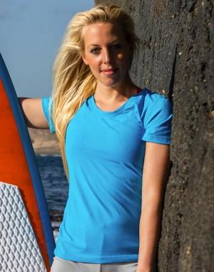 Moteriški sportiniai blizgūs marškinėliai