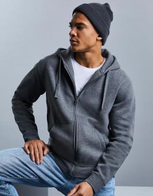 Vyriškas melanžinis džemperis su užtrauktuku ir gobtuvu