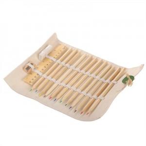 Mokyklinis rinkinys, pieštukų dėklas, 12 pieštukų, liniuotė, trintukas ir pieštukas