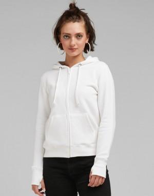 Moteriškas miesto džemperis su viso ilgio užtrauktuku ir su gobtuvu