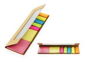RECO firmos popierinės liniuotės dėklas su lipnių lapelių rinkiniu