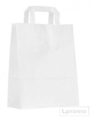 Kraft balti popieriniai maišeliai su plokščiomis rankenomis, 260x300 mm