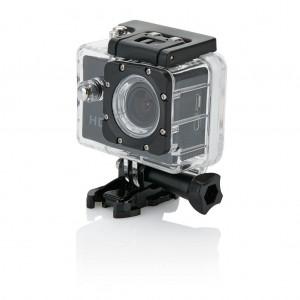 Action camera su 11 priedų, juodos spalvos