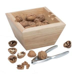 Riešutų gliaudymo įrankis su mediniu dubenėliu