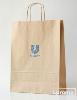 Popieriniai maišeliai Kraft rudi su logotipu, 180x220 mm