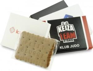 Reklaminiai kakavos skonio sausainiai su Jūsų įmonės reklama ar logotipu