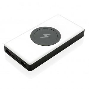 10.000 mAh PowerBank su PD ir belaidžiu įkrovikliu, sidabro spalvos