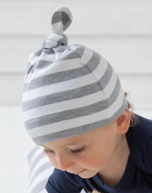 Dryžuota kepurė su mazgu kūdikiams