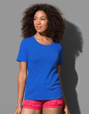 Moteriški laisvo kritimo marškinėliai prigludusia, apvalia apykakle