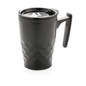 Geometrinis kavos puodelis, juodos spalvos