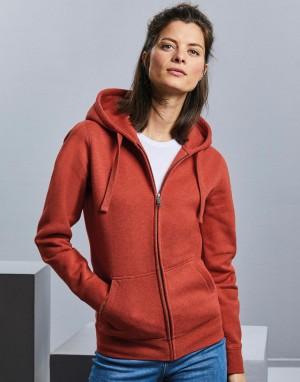 Moteriškas melanžinis džemperis su užtrauktuku ir gobtuvu