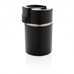 Bogota kompaktiškas vakuuminis puodelis su keramikos danga, juodos spalvos