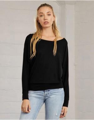Moteriški marškinėliai su ilgomis laisvo, atpalaiduoto kritimo rankovėmis