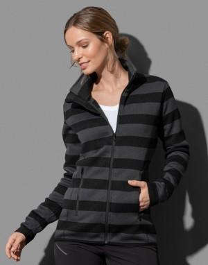 Moteriškas dryžuotas flisinis džemperis