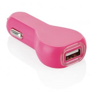 USB automobilinis įkroviklis, rožinis