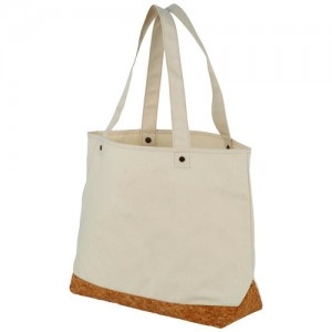 Napa firmos medvilninis krepšys su kamštinės medžiagos dekoracija