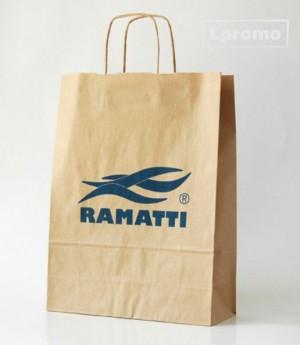 Popieriniai reklaminiai maišeliai. Kraft rudi, 400x390 mm