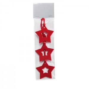 Žvaigždės formos veltinio eglutės dekoracijos