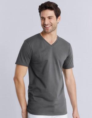 Medvilniniai marškinėliai suaugusiems su V formos kaklo iškirpte