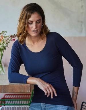 Moteriški 3/4 rankovių ilgio tamprūs  marškinėliai