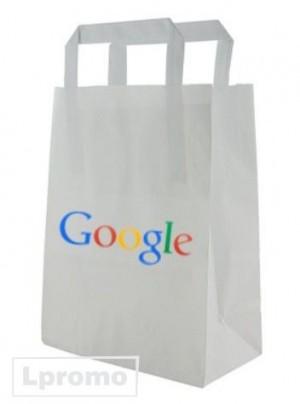 Balti popieriniai maišeliai plokščiomis popierinėmis rankenėlėmis, 250x310 mm