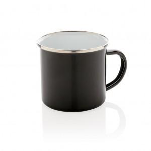 Vintage emalio puodelis, juodos spalvos
