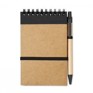 Perdirbto popieriaus užrašų bloknotas + rašiklis