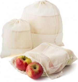 Organinės medvilnės maišelis vaisiams ir daržovėms, 3 vnt
