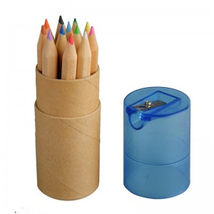 12 vnt pieštukų su drožtuku ovalioje dėžutėje