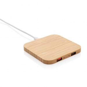 Belaidis bambuko 5 W įkroviklis su USB jungtimis