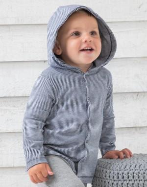 Kūdikių dryžuoti marškinėliai su gobtuvu