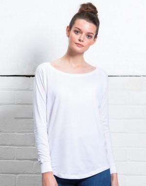 Moteriški laisvo kritimo marškinėliai ilgomis rankovėmis