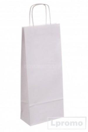 Popierinis Kraft maišelis vynui, balta spalva, 160x390 mm
