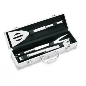 3 BBQ grilio įrankiai aliuminio lagamine