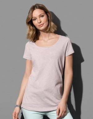 Moteriški marškinėliai su didele apvalia kaklo iškirpte