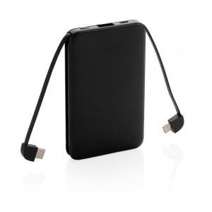5.000 mAh kišeninis PowerBank su integruotu kabeliu, juodos spalvos
