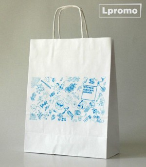 Popierinių maišelių gamyba. Kraft balti, 340x330 mm