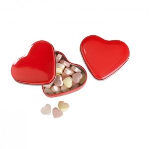 Širdies formos skardinė su saldainiais