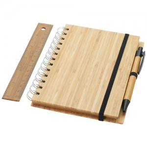 Franklin B6 formato bambukinė užrašų knygelė su rašikliu ir liniuote