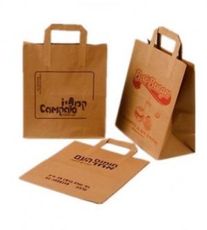 Popieriniai maišeliai su plokščiomis rankenėlėmis, ruda spalva, 250x310 mm