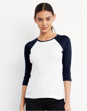 Moteriški kontrastiniai marškinėliai su 3/4 reglano rankovėmis