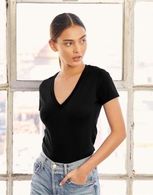 Moteriški trikotažiniai marškinėliai su V formos kaklo iškirpte