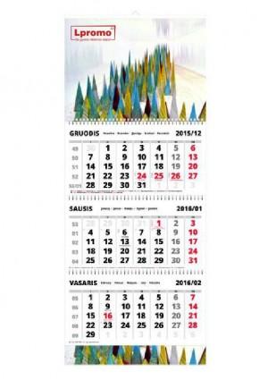 Trijų dalių sieninis kalendorius su Jūsų reklama