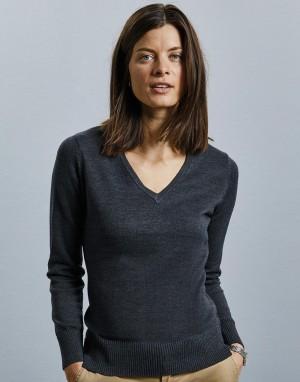 Moteriškas megztinis su V formos kaklo iškirpte