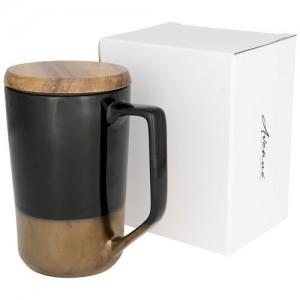 Tahou 470 ml keramikinis puodelis su mediniu dangteliu