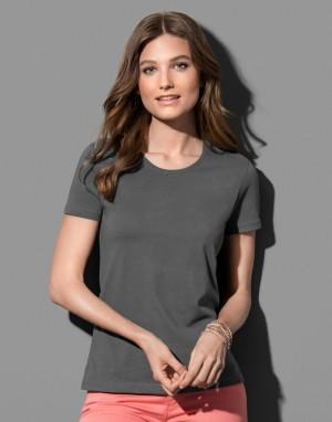 Moteriški ekologiškos medvilnės  marškinėliai su prigludusia  apvalia apykakle