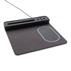 Air mouse kilimėlis su 5 W belaidžiu įkrovimu ir USB, juodos spalvos