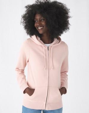 Moteriškas ekologiškas džemperis su gobtuvu ir užtrauktuku