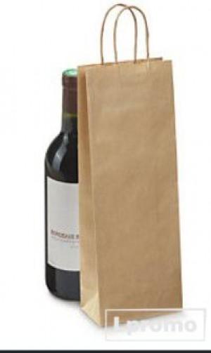 Ekologiškas popierinis maišelis gerimams. Kraft ruda spalva, 160x390 mm