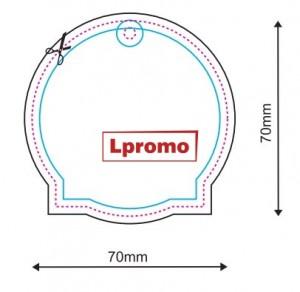 Automobiliniai kvapai su logo, apskritimas su kvadratine apačia